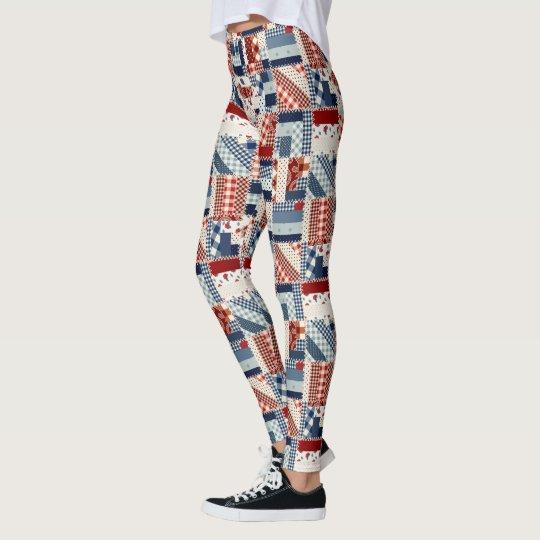 Patriotic Quiltted Look Leggings