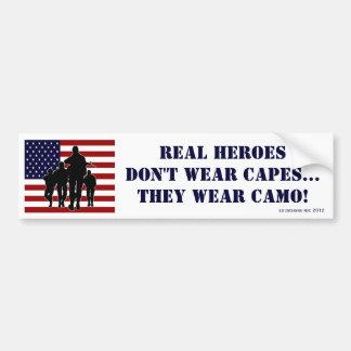 Patriotic Real Heroes Wear Camo Bumper Sticker