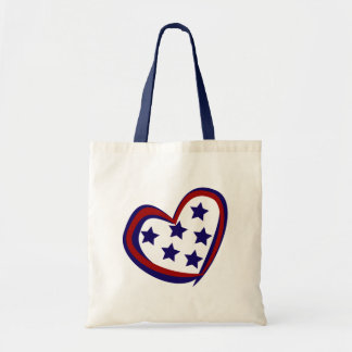 Patriotic Red and Blue Heart Tote Bag