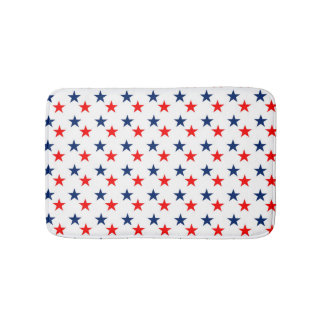 Patriotic Red and Blue Stars Bath Mats
