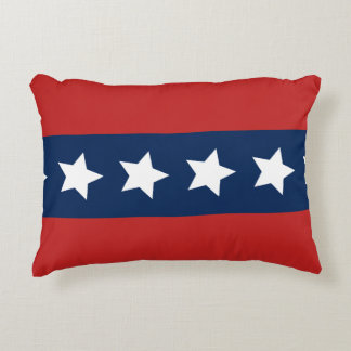 Patriotic Red and Blue Stripes with Stars Accent Cushion