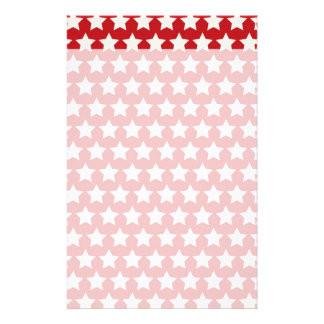 Patriotic Red and White Stars Pattern 4th of July Customized Stationery