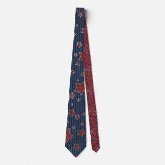 Patriotic Red & Blue Stars Tie