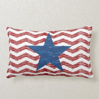 Patriotic Red Chevron Zigzag Blue Star Pillow Cushion