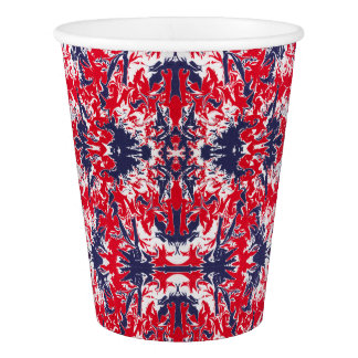 Patriotic red, white and blue abstract pattern paper cup