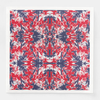 Patriotic red, white and blue abstract pattern paper napkin