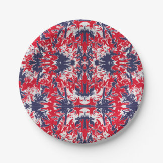 Patriotic red, white and blue abstract pattern paper plate