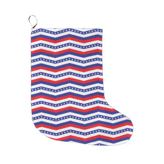 Patriotic red white and blue chevron large christmas stocking
