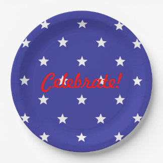 Patriotic Red, White, and Blue Paper Plates 9 Inch Paper Plate