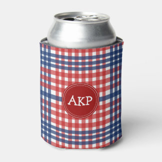 Patriotic Red White and Blue Plaid Custom Can Cooler