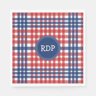 Patriotic Red White and Blue Plaid Custom Disposable Serviette