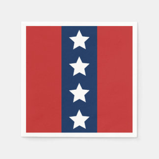 Patriotic Red White and Blue Stars and Stripes Disposable Serviette
