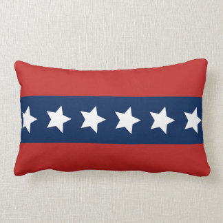 Patriotic Red White and Blue Stars and Stripes Lumbar Pillow