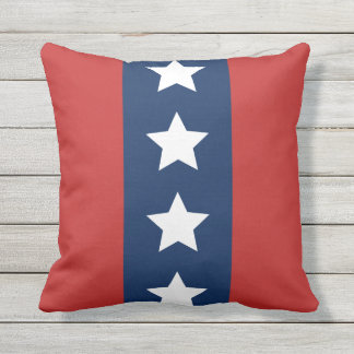 Patriotic Red White and Blue Stars and Stripes Outdoor Cushion