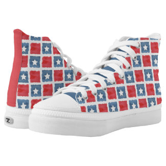 Patriotic Red White and Blue Watercolor Printed Shoes