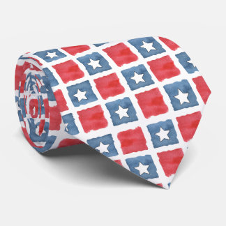 Patriotic Red White and Blue Watercolor Tie