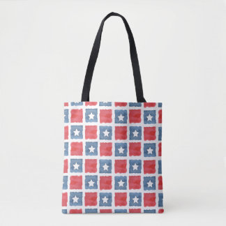 Patriotic Red White and Blue Watercolor Tote Bag