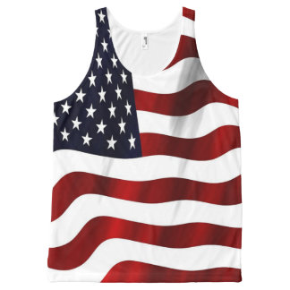 Patriotic Red, White, and Blue Wavy American Flag All-Over Print Singlet