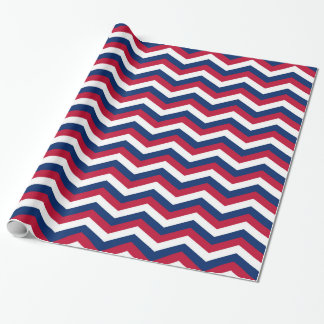 Patriotic Red White and Blue Zigzag Wrapping Paper