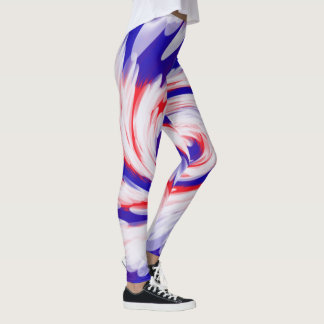 Patriotic Red White Blue Abstract Design Leggings