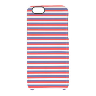 Patriotic Red White & Blue July Festive Stripes Clear iPhone 6/6S Case