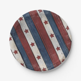 Patriotic Red White Blue Paper Plate