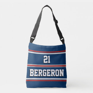 Patriotic Red White Blue Sports Jersey Stripes Tote Bag