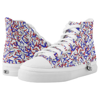 Patriotic Red White Blue Sprinkles High Tops