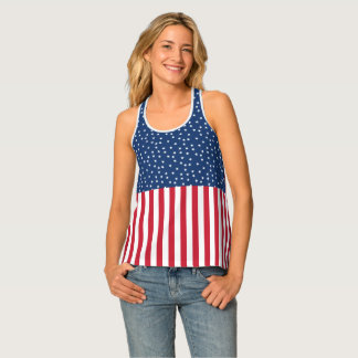 Patriotic Red White Blue Star and Stripes Singlet