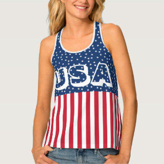 Patriotic Red White Blue Star and Stripes USA Singlet