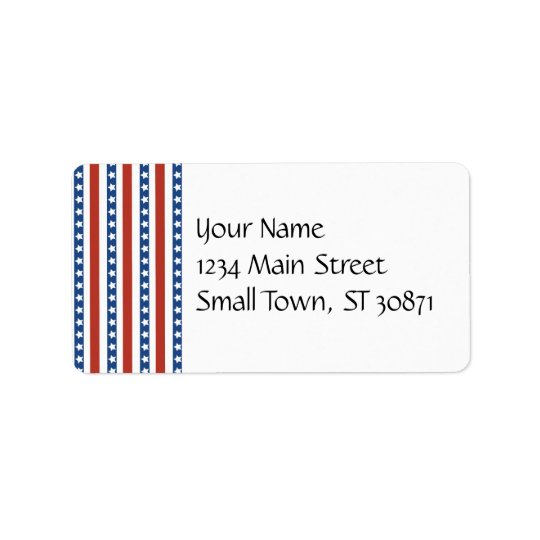Patriotic Red White Blue Stars and Stripes Freedom Label