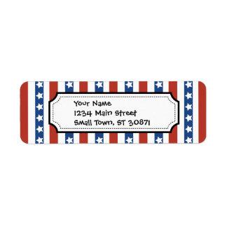 Patriotic Red White Blue Stars and Stripes Freedom Return Address Label