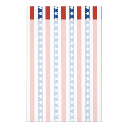 Patriotic Red White Blue Stars and Stripes Freedom Personalized Stationery