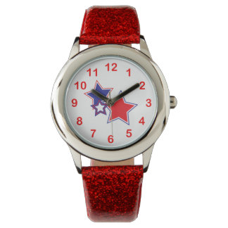 Patriotic Red White Blue Stars Watches