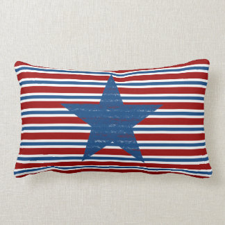Patriotic Red White Blue Striped Star Throw Pillow Cushions