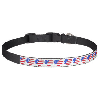Patriotic Red White Blue USA American Flag Heart Pet Collar