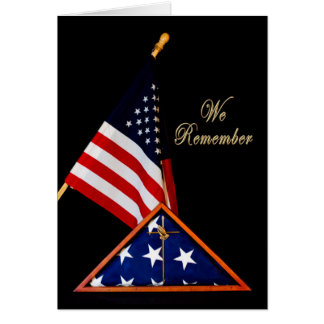 PATRIOTIC, REMEMBRANCE - FOLDED FLAG INCASED GREETING CARD