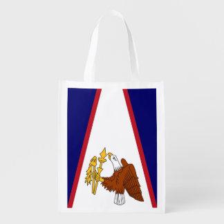 Patriotic reusable grocery bag with Samoa Flag