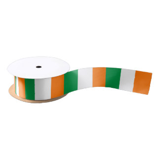 Patriotic Ribbon with Flag of Ireland Satin Ribbon