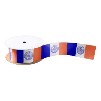 Patriotic Ribbon with Flag of New York City, USA Satin Ribbon