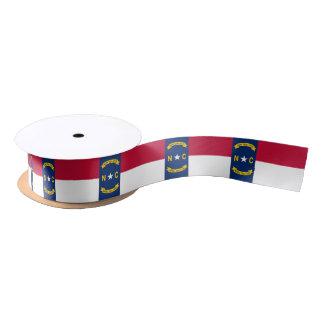 Patriotic Ribbon with Flag of North Carolina, USA Satin Ribbon