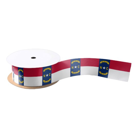 Patriotic Ribbon with Flag of North Carolina, USA Satin Ribbon