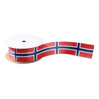 Patriotic Ribbon with Flag of Norway Satin Ribbon