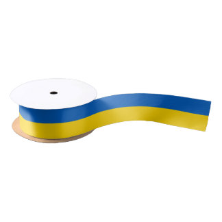 Patriotic Ribbon with Flag of Ukraine Satin Ribbon