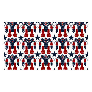 Patriotic Robot Soldier Red White Blue Stars USA Business Cards