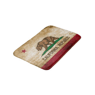 Patriotic Rustic Flag of California Bath Mats