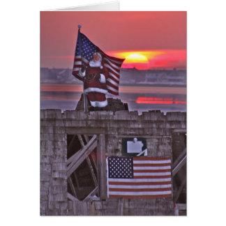 """Patriotic Santa atop of """"THE SHACK"""" Greeting Card"""