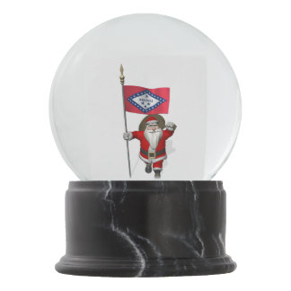 Patriotic Santa Claus Visiting Arkansas Snow Globe