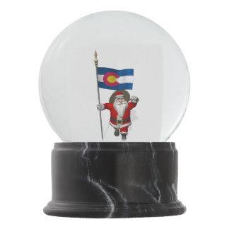 Patriotic Santa Claus Visiting Colorado Snow Globe