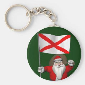 Patriotic Santa With Ensign Of Alabama Basic Round Button Key Ring